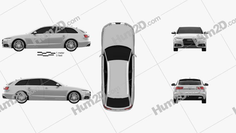 Audi A6 (C7) avant 2015 Clipart Image