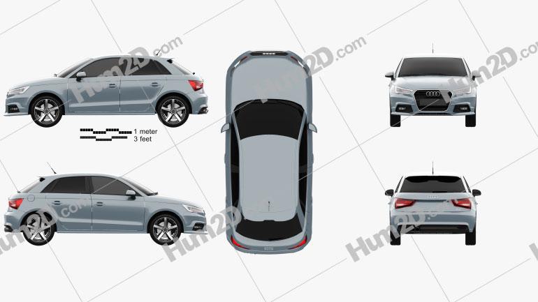 Audi A1 Sportback 2015 car clipart
