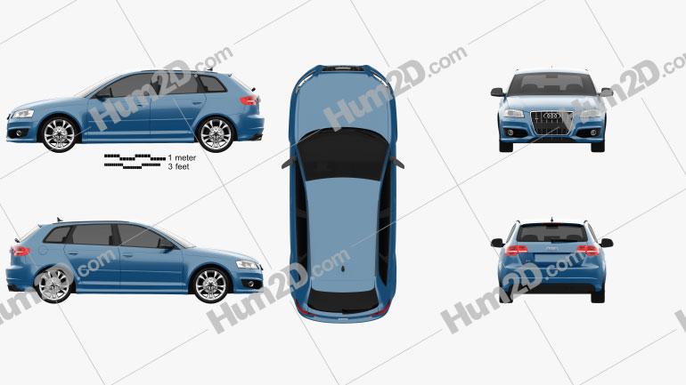Audi S3 Sportback 2008 Clipart Image