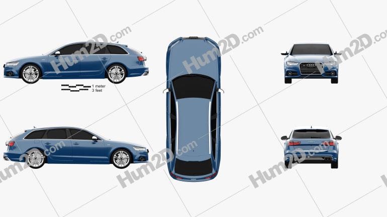 Audi S6 (C7) Avant 2014 car clipart
