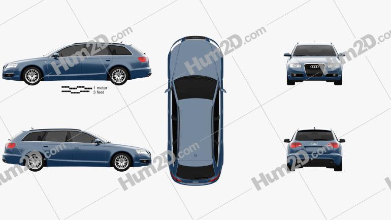 Audi A6 (C6) Avant 2005 car clipart