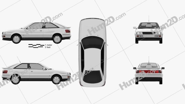 Audi Coupe (8B) 1988 car clipart