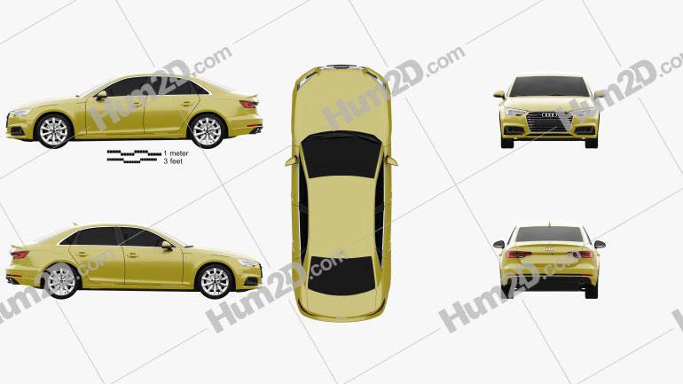 Audi A4 S-Line 2016 Clipart Image