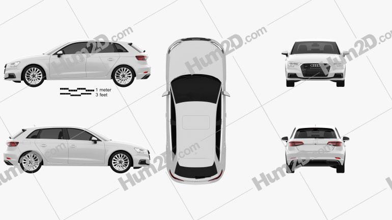 Audi A3 Sportback e-tron 2016 car clipart