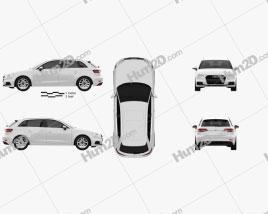 Audi A3 Sportback g-tron 2016 car clipart
