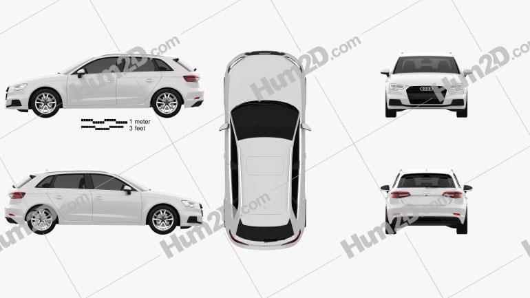 Audi A3 Sportback g-tron 2016 Imagem Clipart