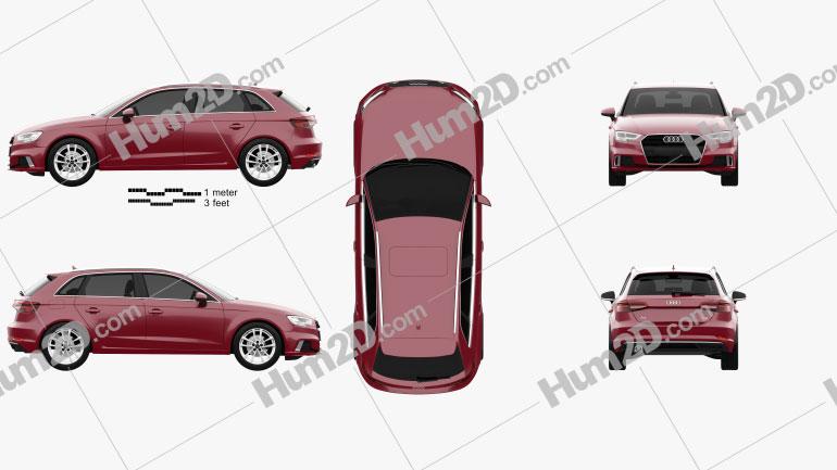Audi A3 Sportback 2016 car clipart