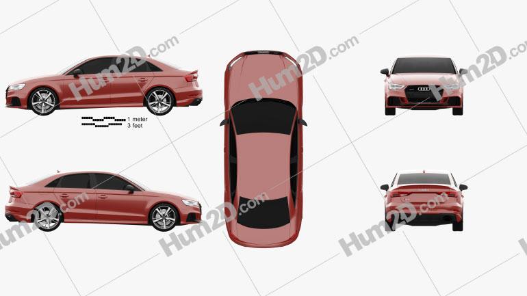 Audi RS3 Sedan 2017 Clipart Bild