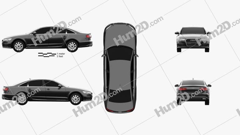 Audi A6 L (C7) saloon (CN) 2017 car clipart