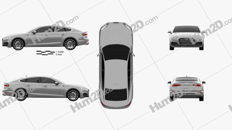Audi A5 Sportback 2017 Clipart Image
