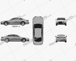 Audi A8 (D5) L 2018 car clipart