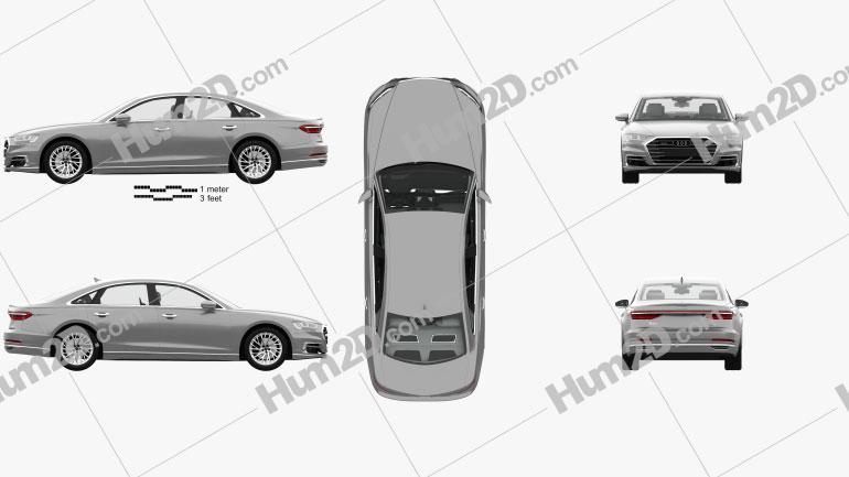 Audi A8 (D5) L with HQ interior 2018 car clipart