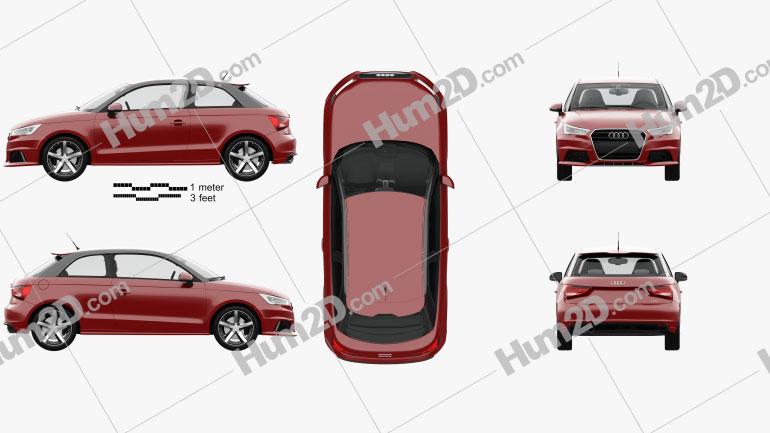 Audi A1 3-door with HQ interior 2015 car clipart