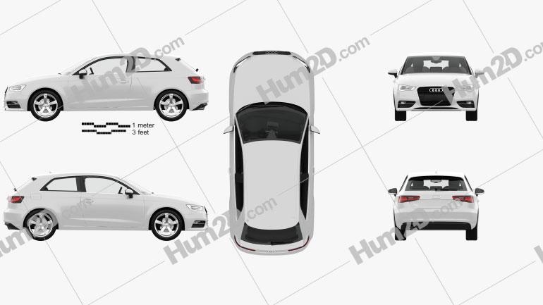 Audi A3 hatchback de 3 portas com interior HQ 2013 car clipart