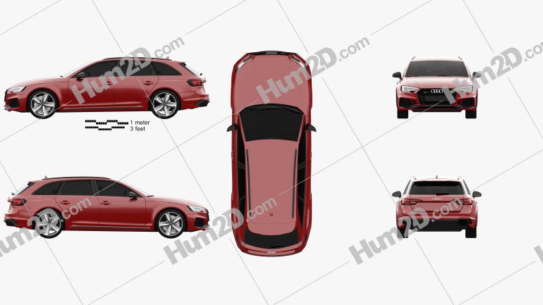 Audi RS4 Avant 2018 car clipart