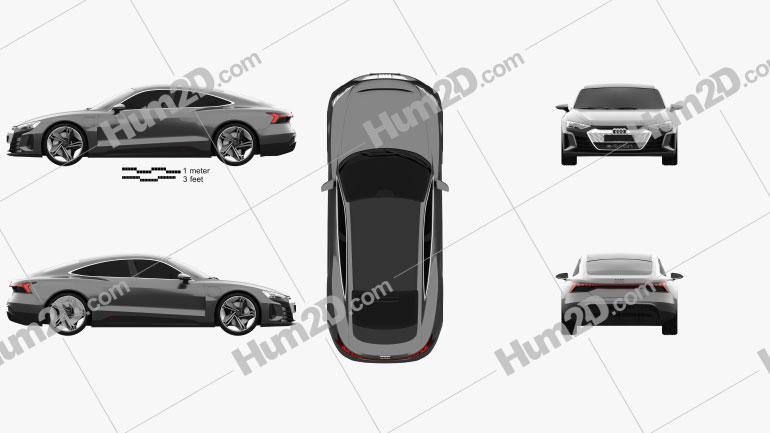Audi e-tron GT 2018 car clipart