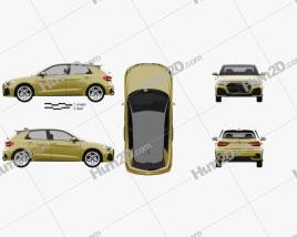 Audi A1 Sportback S-line 2018 Clipart
