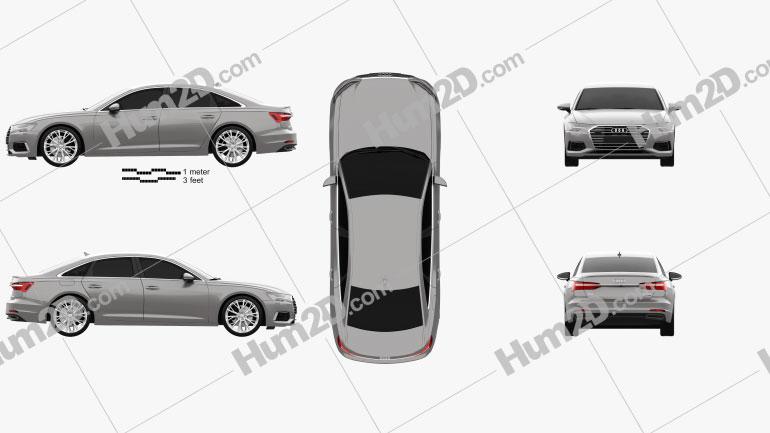 Audi A6 (C8) sedan 2018 car clipart