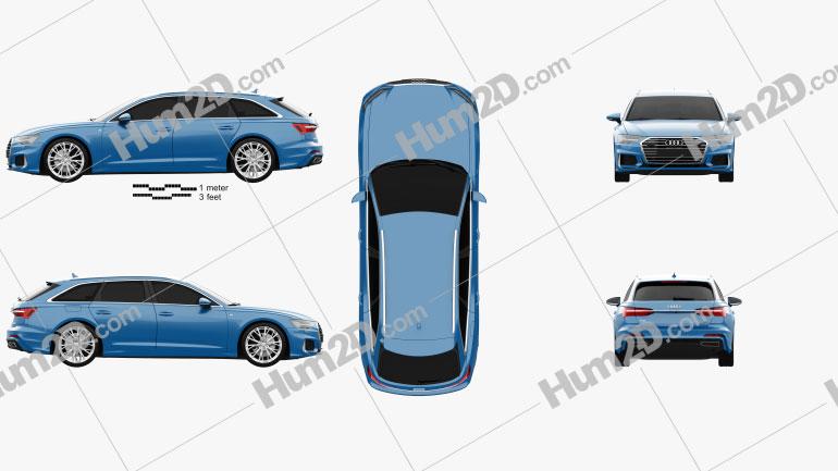 Audi A6 S-Line avant 2018 car clipart