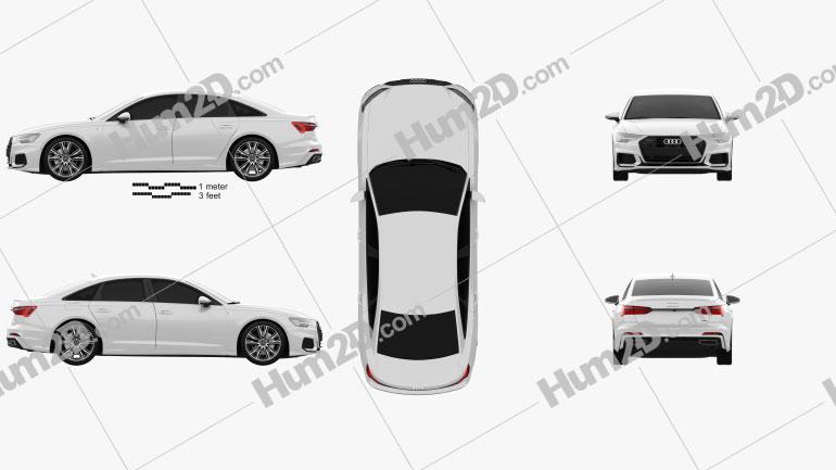 Audi A6 sedan S-Line 2018 car clipart