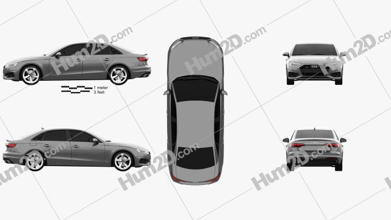 Audi A4 sedan 2019 Clipart Image