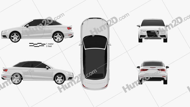 Audi A3 Cabriolet S-line 2014 Clipart Image