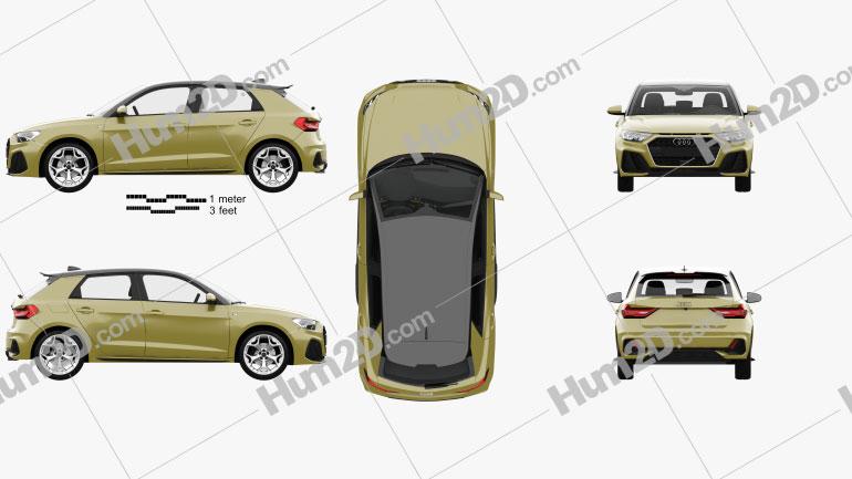 Audi A1 Sportback S-line mit HD Innenraum 2018 car clipart