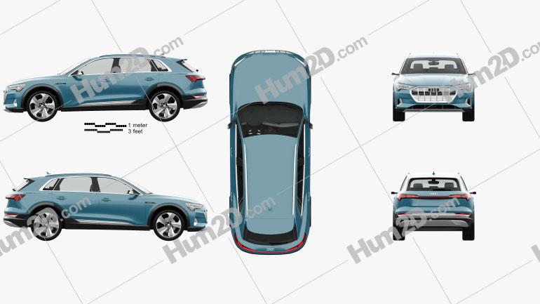 Audi e-tron with HQ interior 2019 car clipart