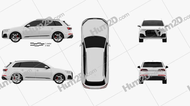 Audi Q7 S-line 2019 Clipart Image