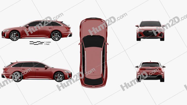 Audi RS6 avant 2019 car clipart