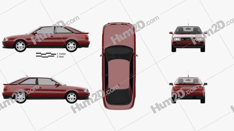 Audi S2 coupe 1990 car clipart