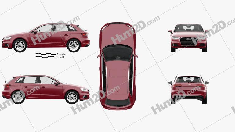 Audi A3 sportback with HQ interior 2016 car clipart