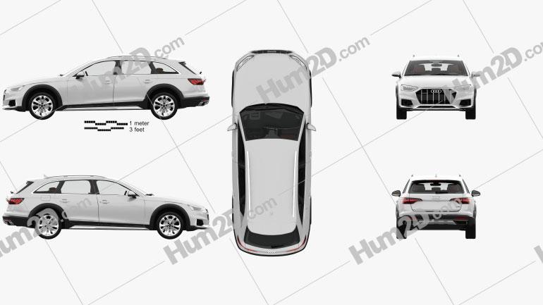 Audi A4 Allroad com interior HQ 2019 car clipart