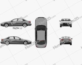 Audi A4 sedan with HQ interior 2019 car clipart