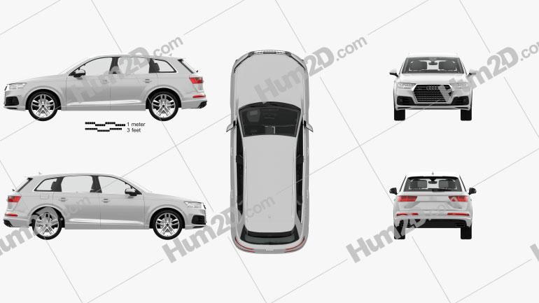 Audi Q7 S-line com interior HQ 2016 Imagem Clipart