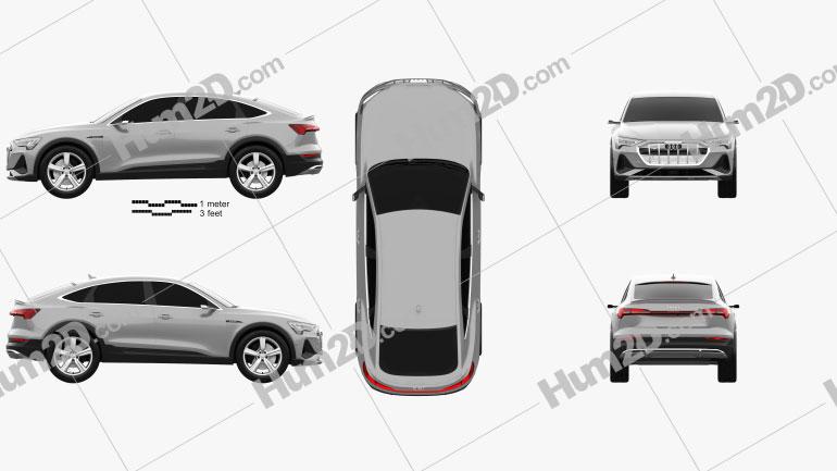 Audi e-tron sportback S-line coupe 2020 car clipart