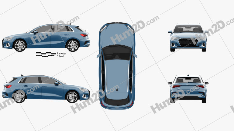 Audi A3 sportback 2020 car clipart