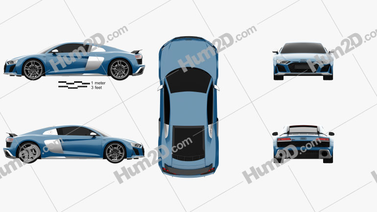 Audi R8 V10 coupe 2019 car clipart