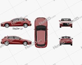 Audi A3 S-line sportback 2020 car clipart