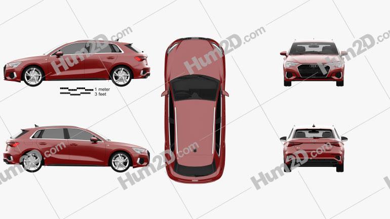 Audi A3 S-line sportback 2020 Clipart Image