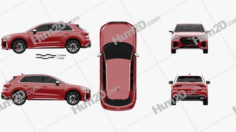 Audi Q3 RS 2019 Clipart Image