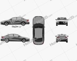 Audi A3 S-line sedan 2020 car clipart