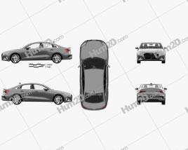 Audi A3 sedan with HQ interior 2020 car clipart