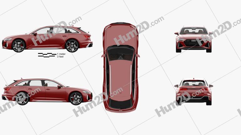 Audi RS6 avant com interior HQ e motor 2019 car clipart