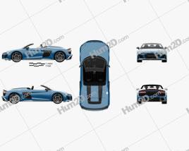 Audi R8 V10 US-spec spyder with HQ interior 2019 car clipart
