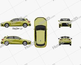 Audi S3 Edition One sportback 2020 car clipart