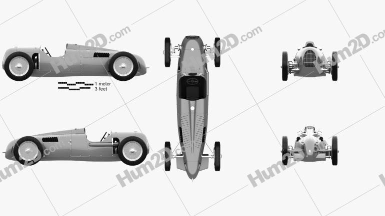 Auto Union Typ C 1936 car clipart