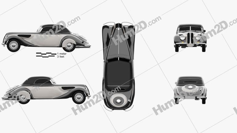 BMW 327 Kabriolett 1937 car clipart