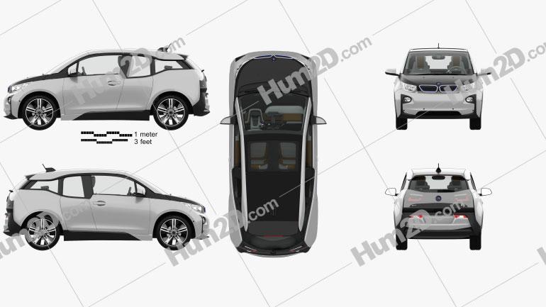 BMW i3 com interior HQ 2014 car clipart