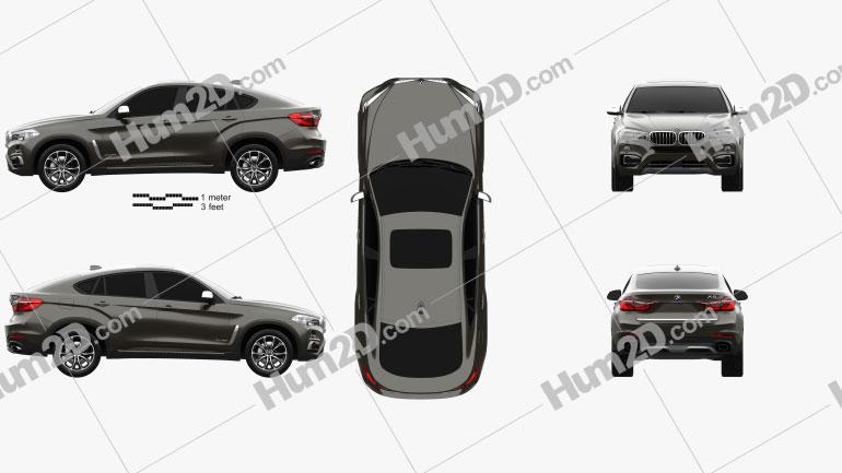 BMW X6 (F16) 2014 Clipart Image